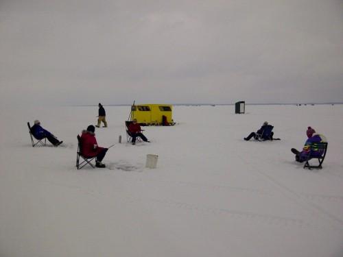 ice fishing on Lake Simcoe