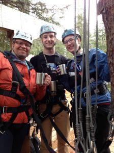a blueberry tea break while zip-lining in Juneau