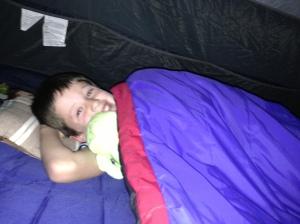 Phoenie in his sleep bag