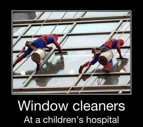 window cleaners at a children's hospital