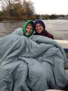 boat ride on a cold day