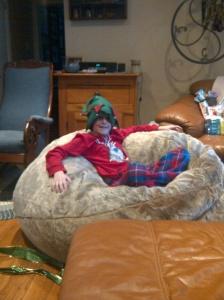 sitting in bean bag chair
