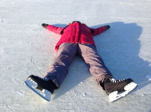 Diane on the ice = not upright