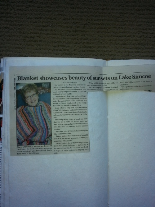 newspaper article - sunset blanket