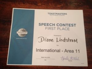 Area speech conference 2014 1st place certificate