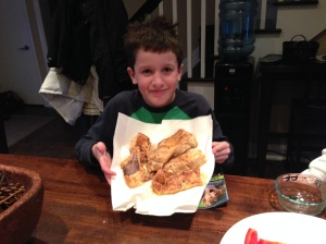 Phoenie and his fish - voila! fried trout