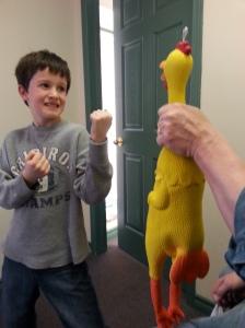 Grandparents Day chicken wrestling