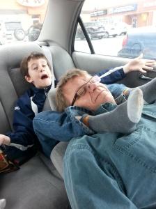 Grandparents Day Wrestling in car